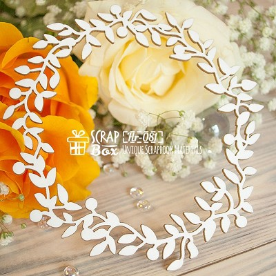 Chipboard wreath foliate large Hr-081