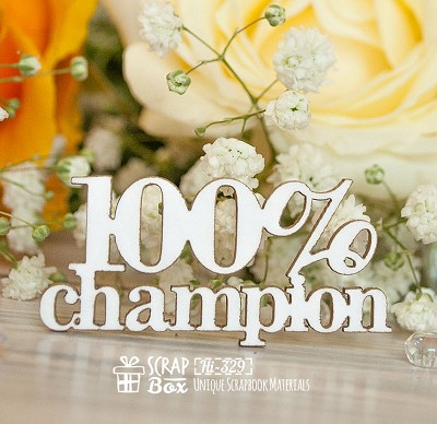 Chipboard inscription 100% champion Hi-329