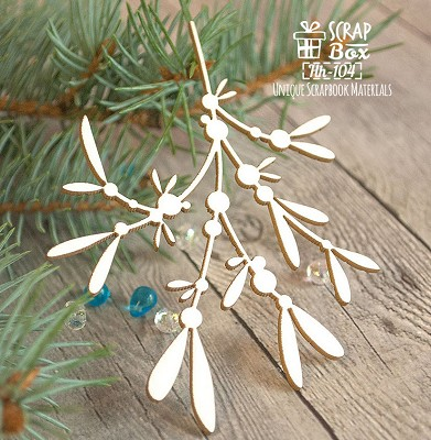 Chipboard a sprig of mistletoe small Hh-104