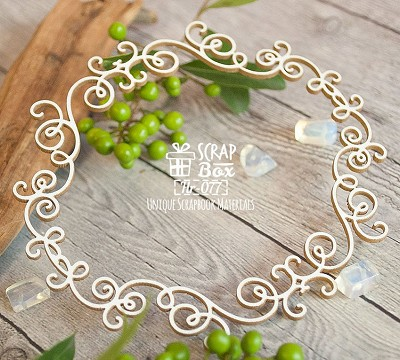 Chipboard frame with monograms Hr-077