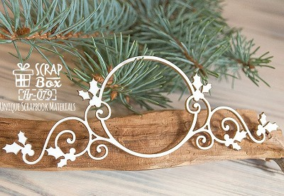 Chipboard Christmas frame with holly Hr-079