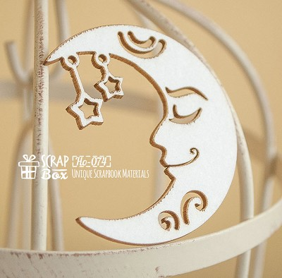 Chipboard Moon with stars Ho-074