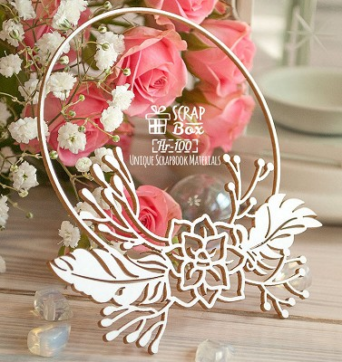 Chipboard Frame with feathers Hr-100