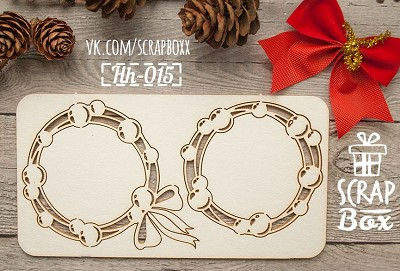 Chipboard Set wreath with balls Hh-015