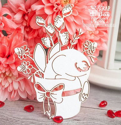 Chipboard bunny in a pot Hf-097