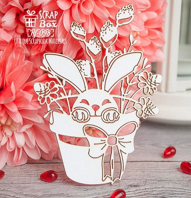 Chipboard bunny in a pot Hf-098