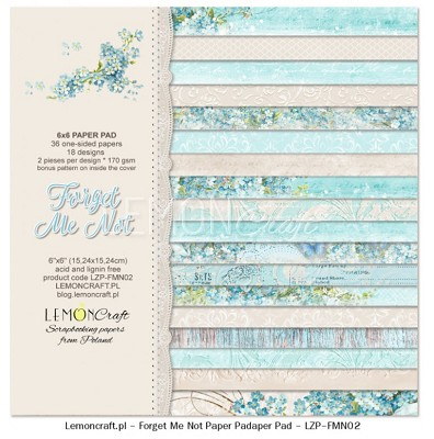 Pad of scrapbooking papers - Forget Me Not 6x6 new collection