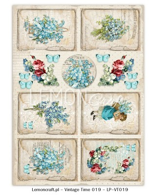 One-sided scrapbook paper - VintageTime 019 - A4