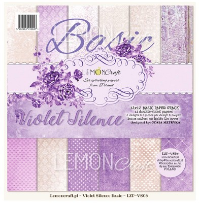 Stack of basic scrapbooking papers - Violet Silence - 12 x 12