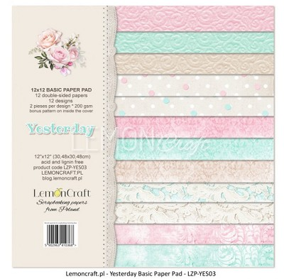 Lemoncraft Stack of basic scrapbooking papers - Yesterday - LZP-YES03 12 x 12