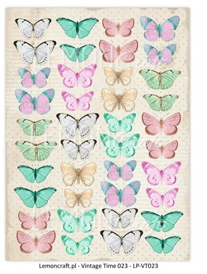 Lemoncraft One-sided scrapbooking paper - Butterfly Vintage Time 	LP-VT023
