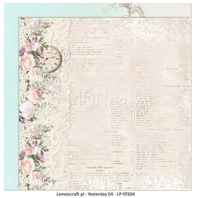 Lemoncraft Double sided scrapbooking paper - Yesterday LP-YES04 12 x 12
