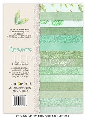 Lemoncraft  Stack of basic scrapbooking papers - Leaves LZP-LVS01