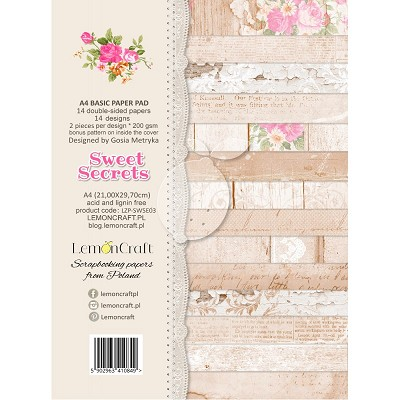 Lemoncraft Sweet Secrets Stack of basic scrapbooking papers A4 - LZP-SWSE03