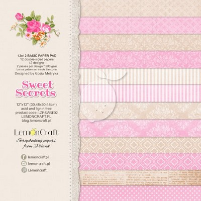 Lemoncraft Sweet Secrets Stack of basic scrapbooking papers - 12 x 12