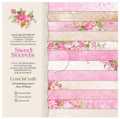 Lemoncraft Sweet Secrets Set of scrapbooking papers - 12 x 12 -  LZP-SWSE01