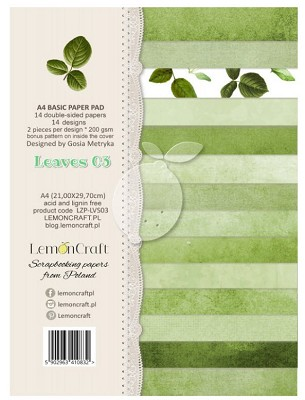 Lemoncraft Stack of basic scrapbooking papers - Sweet secrets  Leaves 03 - A4