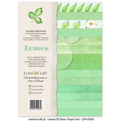 Lemoncraft Stack of basic scrapbooking papers - Leaves 02