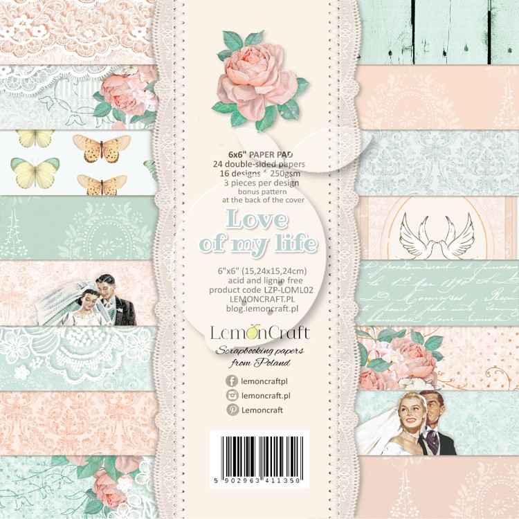 Lemoncraft - Pad of scrapbooking papers - Love of my life 6x6