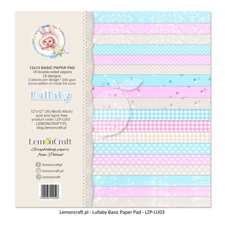 Lemoncraft - Stack of basic scrapbooking papers - Lullaby - 12 x 12