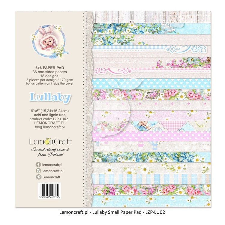 Lemoncraft - Pad of scrapbooking papers - Lullaby 6 x 6