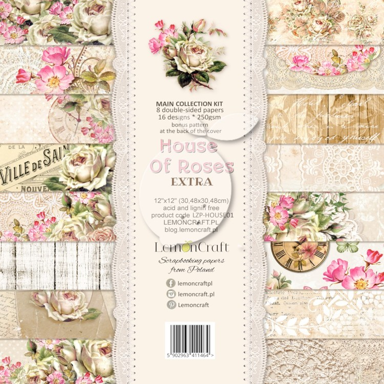 Lemon Craft - Set of scrapbooking papers - House of Roses EXTRA   12 x 12 inch