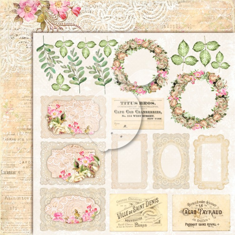 Lemon Craft - Double sided scrapbooking paper - House of roses EXTRA 02  - 12 x 12