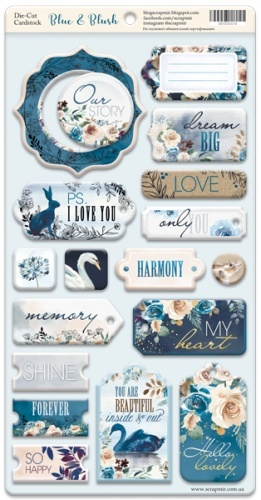 Scrapmir - Chipboard for scrapbooking from 18 pcs Scrapmir Blue & Blush (ENG)