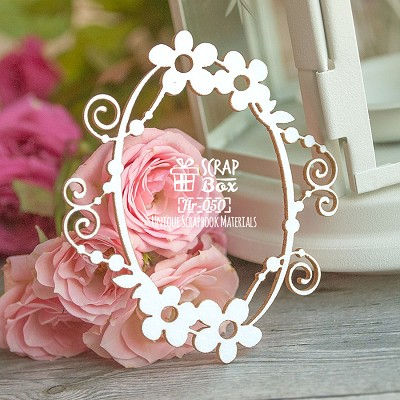 Chipboard oval frame with flowers Hr-050