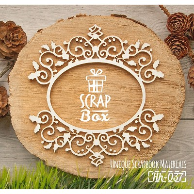 Chipboard openwork frame with Christmas holly Hh-037