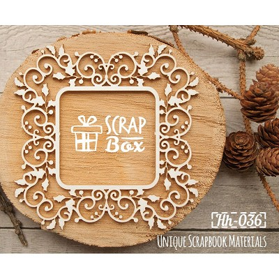 Chipboard openwork frame with Christmas holly Hh-036