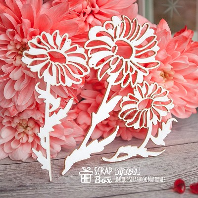 Chipboard Daisies 3pc. Hf-094
