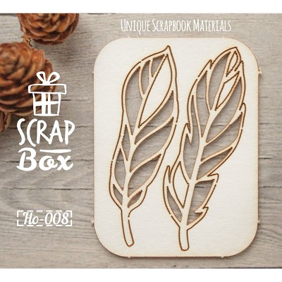 Chipboard set of  bird feathers  №3 Ho-008