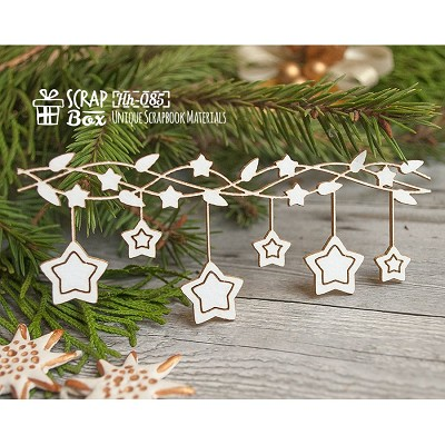 Chipboard Christmas garland with stars Hh-085