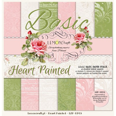 Stack of basic scrapbooking papers - Heart Painted 12 x12