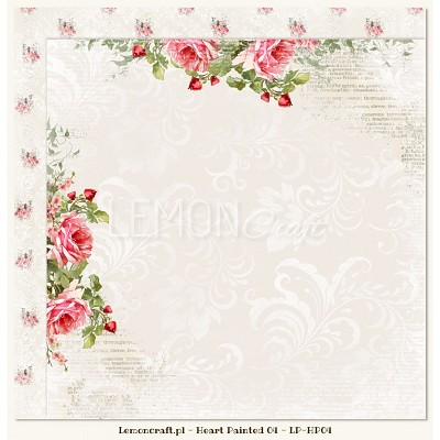 Double sided scrapbooking paper - Heart Painted 04