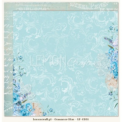 Double sided scrapbooking paper - Gossamer Blue 01  -  new collection