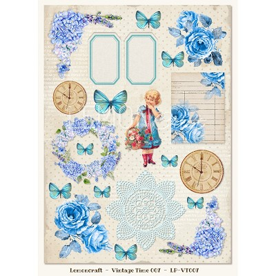 One-sided scrapbooking paper - Vintage Time 007  -  new collection
