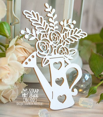 Chipboard Garden watering can with flowers Ho-122