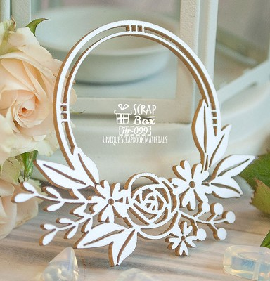 Chipboard Round frame with flowers Hr-099