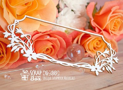 Chipboard frame with flowers rectangular Hr-089