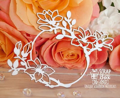 Chipboard frame with magnolias round Hr-093