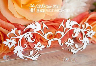 Chipboard border with flowers and leaves Hw-042