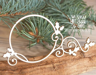 Chipboard Christmas frame with holly Hr-080