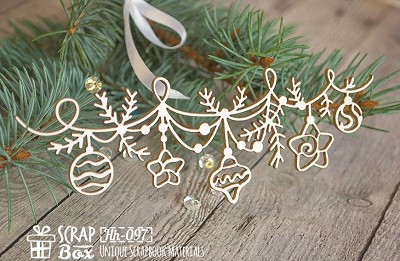Chipboard Christmas garland with toys Hh-097
