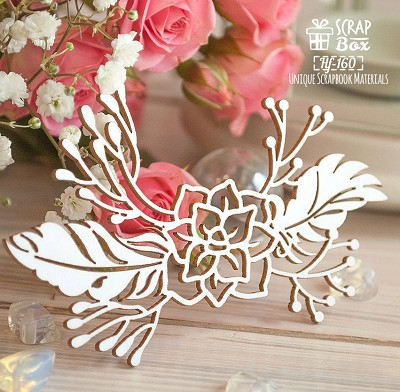 Chipboard Succulent with feathers Hf-160