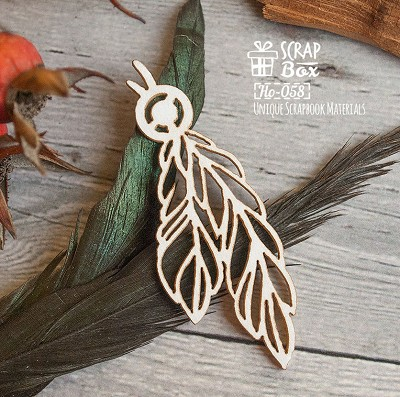Chipboard feathers with beads Ho-058