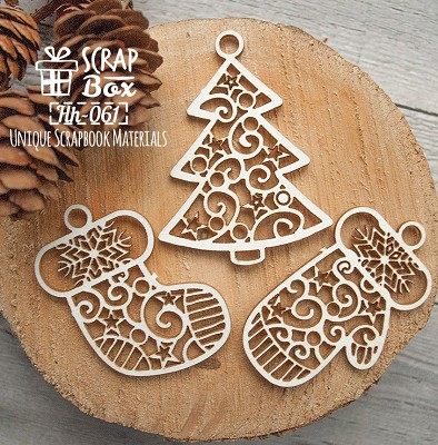 Chipboard A set of Christmas attributes Hh-061