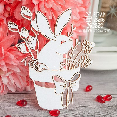 Chipboard bunny in a pot Hf-096