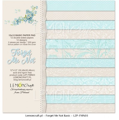 Stack of basic scrapbooking papers - Forget Me Not - new collection 12 x 12 inch